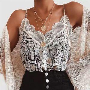 Gorgeous Snake Skin Tank Top w lace trim